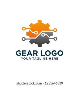 vector logo technology. Digital tech - vector business logo template concept illustration. Gear electronic factory sign. Cog wheel technology symbol. SEO emblem. Design element.