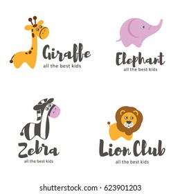 Vector logo template. Baby animals. Lion, zebra, elephant, giraffe
