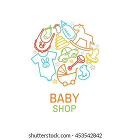 Vector logo template of baby shop with toys and clothes in linear style. Vector illustration