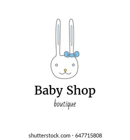 Vector logo template for baby shop or store. Illustration of a cute rabbit with blue bow on his ear. Child logotype. Can be used for print on clothes for boys and girls, decoration, design banners.