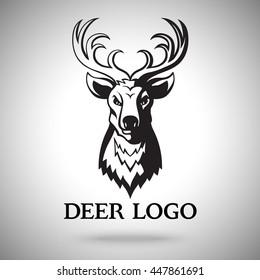 Vector logo template with black deer head. For labels, sport teams, badges etc.