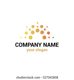 Vector logo template for business company. Illustration of  the rising sun.