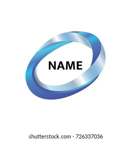 Vector logo template for business company. Abstract blue logotype in the form of an oval. Mobius loop.