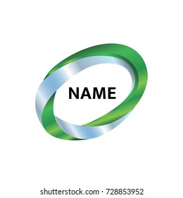 Vector logo template for business company. Abstract green logotype in the form of an oval. Mobius loop.  3d design.