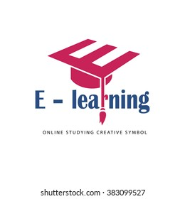 Vector logo template. It can be used for learning center, educational institution, online course, corporate education and training