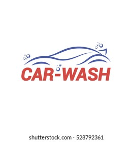 Vector logo template for car-wash. Illustration of car with bubbles.