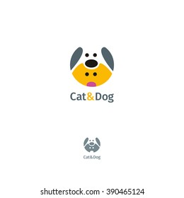 Vector logo template with cat and dog.