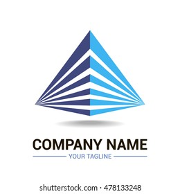 Vector logo template, depicting two blue triangles joined together, eps 10.