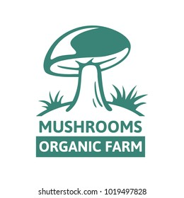 Vector logo template design porcini organic mushroom farm. An excellent emblem, design concept, creative symbol, icon template highly suitable for company