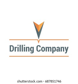 Vector logo template for drilling company. Illustration of abstract drill. Geological prospecting icon. EPS10.