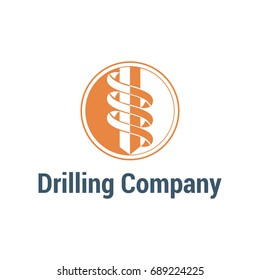 Vector logo template for drilling company. Rotating drill icon. EPS10. Simple and style logotype for geological prospecting isolated on white background.
