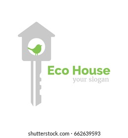 Vector logo template for eco home. Illustration of  house in the form of a key, with a bird inside. EPS10. Creative idea for logotype for building company.