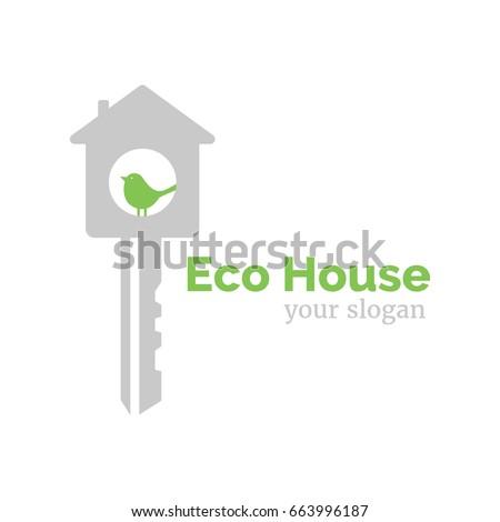 Vector logo template eco home illustration stock vector royalty vector logo template for eco home illustration of house in the form of a key maxwellsz
