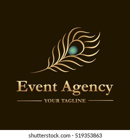 Vector logo template for event agency in gold. Illustration of  peacock feather. Logotype for your business company.