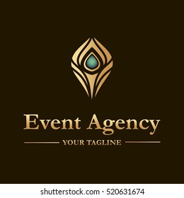 Vector logo template for event agency. Illustration of peacock feather in gold color.