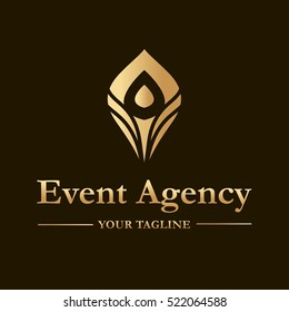 Vector logo template for event agency in gold color. Illustration of  peacock feather. Can be used for identity for your business company.
