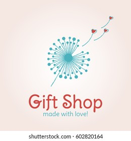 Vector logo template for gift shop, design banners. Illustration of a dandelion with flying heart-shaped fuzz. Can be used for print on T-shirts for boys and girls. EPS10. Creative logotype.
