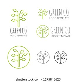 Vector logo template for green company with stylized tree symbol