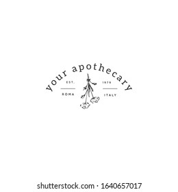 Vector logo template with hand drawn medicinal herbs. For apothecaries and shops. For magic performances, magicians and illusionists. Business identity and branding.