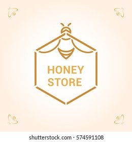 Vector logo template for honey store. Illustration of bee in honeycomb. Can be used for textile design, design of banners, company identity. Creative logotype. EPS10.