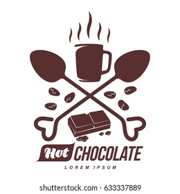 Vector logo template hot chocolate. Hot cocoa, roasted cocoa beans. Vector template for business card, poster, banner, design elements for cafe, coffee shop. Isolated on white background.