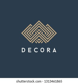 Vector logo template for interior, furniture shops, decor items and home decoration. Abstract crown.