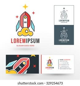 Vector Logo Template. Line Art Rocket Symbol Start Up