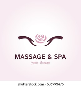 Vector logo template for massage parlor or SPA salon. Illustration of rose in female hands. EPS10. Creative and simple logotype for beauty centre.