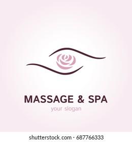 Vector logo template for massage parlor or SPA salon. Illustration of rose in hands. EPS10.
