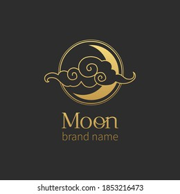 Vector logo template with Moon and cloud