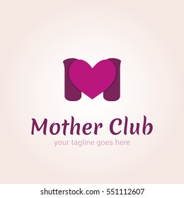 Vector logo template for mother club, care during pregnancy, protection, pregnancy support. The letter M and the heart.