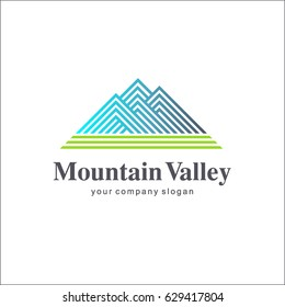 Vector logo template. Mountain Valley