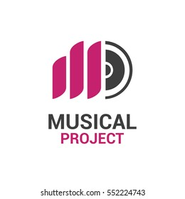 Vector logo template for musical project. Music icon. Letter M logotype, label for sound recording studio.