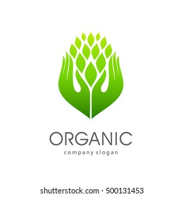 Vector logo template for organic and natural products, healthy lifestyle