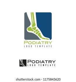 Vector logo template for podiatry with foot and ankle bones in rounded square