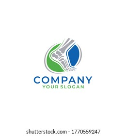 Vector logo template for podiatry with leg and ankle bones in Circles