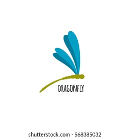 Vector logo template profile of a dragonfly.. Object isolated on white background