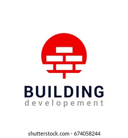 Vector logo template for real estate or building company. Illustration of brick wall. EPS10. Icon concept. Architecture.