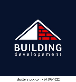 Vector logo template for real estate or building company. Illustration of roof made of bricks. EPS10. Icon concept. Architecture.