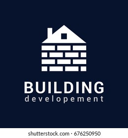 Vector logo template for real estate or building company. Illustration of house made of bricks. EPS10. Icon concept. Architecture.