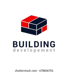 Vector logo template for real estate or building company. Illustration of a house made of red and blue bricks isolated on white background. Icon concept. Creative logotype for architecture company.