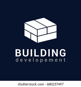 Vector logo template for real estate or building company. Illustration of a house made of four white bricks. EPS10. Icon concept. Architecture.