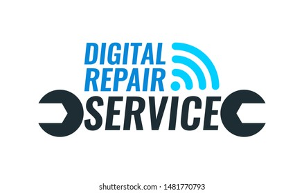 Vector Logo template for Repair Service of digital equipment. Illustration with spanner and captions isolated on white background.