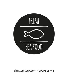 Vector logo template for seafood restaurant. Illustration of fish. Can be used for sea food cafe. EPS 10. Design element for fish-menu, banners.