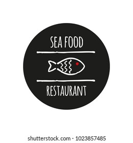 Vector logo template for seafood restaurant. Illustration of fish in linear style. Can be used for sea food cafe. EPS 10. Design element for fish-menu, banners.