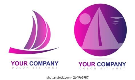 Vector logo template of a ship or sailboat icon