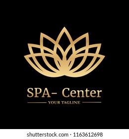 Vector logo template for SPA salon, cosmetology room, massage, boutique hotel, wellness centre. Illustration of lotus with gold gradient. EPS10.