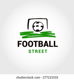 Vector logo template street football, soccer. Ball in. White background, the silhouette logo.