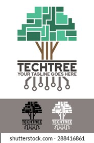 Vector logo template, Tech tree logo template, an elegant and modern logo of a pixelated and futuristic tree, with his electronic roots