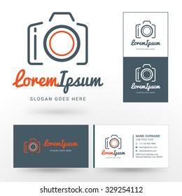 Vector Logo Template. Thin Line Vector Camera. Logo for Photographer or Studio